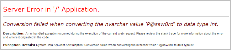 Conversion failed when converting the varchar value 'P@ssw0rd' to data type int.