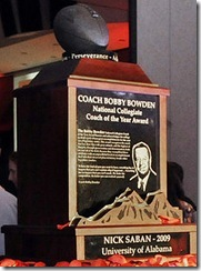 Bobby Bowden Coach of Year trophy 2009