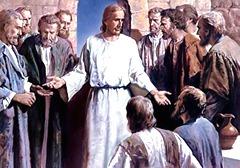 Jesus Ressuscitado com discípulos