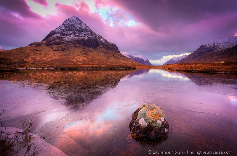 Glencoe sunset reflection ice water mountain highlands scotland