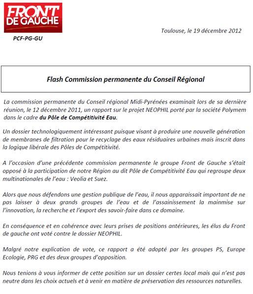 comunicat del FdG del Conselh Regional de M.-P.
