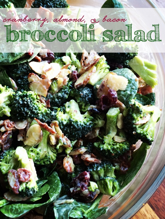 Cranberry Almond Bacon Broccoli Salad with Greek Yogurt Dressing