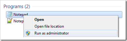 Running the Notepad as an administrator.