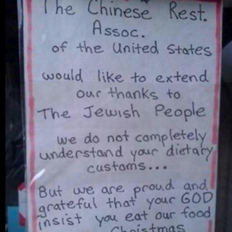 Bazinga Journal: Chinese Restaurant Sign Thanks Jews for Eating ...