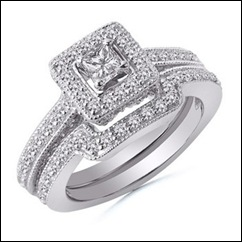 Princess and Round Diamond Wedding Ring