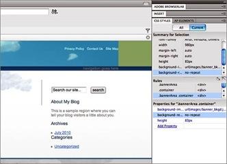 Le panneau Style CSS pour personnaliser un thème Wordpress avec Dreamweaver