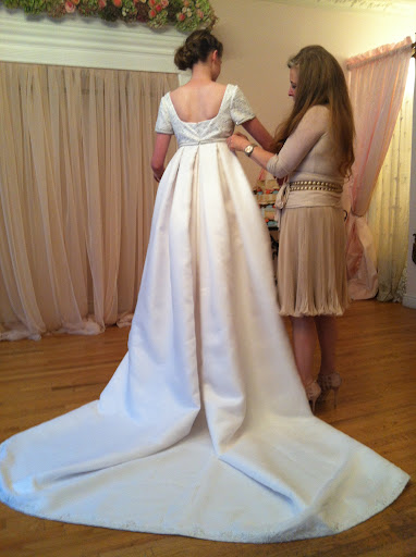 The convertible gown: Starts as an Empire waist gown with an amazing train…