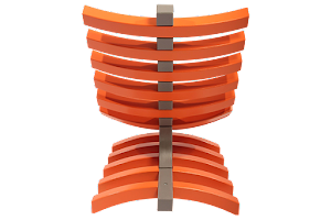Rear View of The Luna Lounger Chair - Finished in a Grey & Vibrant Orange Paint.