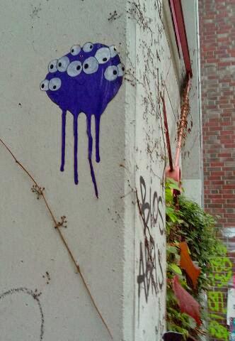 Vieläugiges Spermium Cut Out Altonaer Strasse Street Art