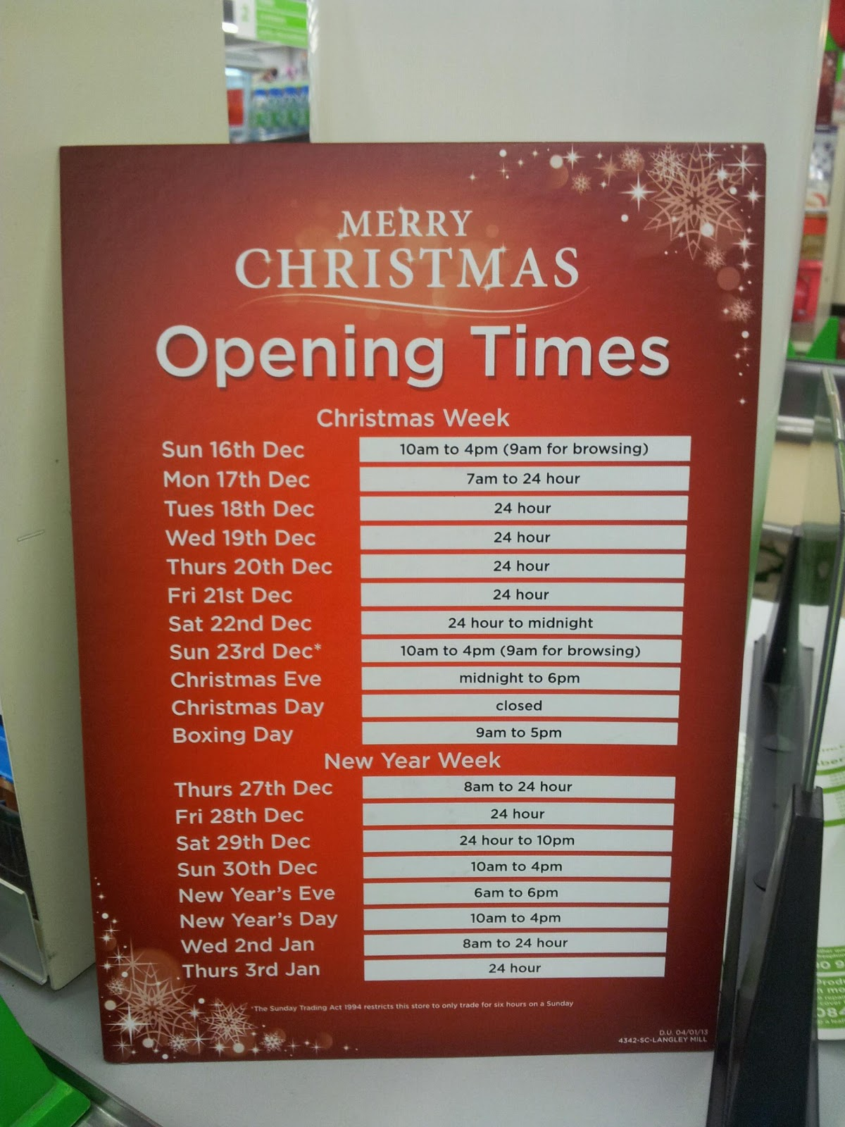 christmas opening times for langley mill asda and post office - Post Office Open On Christmas Eve