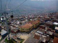 Heading up into the hills on the Medellin metro cable.