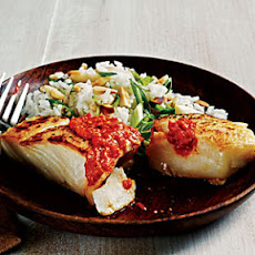 Sautéed Halibut with Romesco Sauce