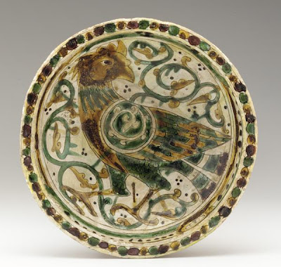 Bowl | Origin:  Afghanistan | Period: 12th-13th century  Saljuq period | Details:  Not Available | Type: Earthenware incised and painted with polychrome glazes | Size: W: 26.7  cm | Museum Code: F1944.49 | Photograph and description taken from Freer and the Sackler (Smithsonian) Museums.