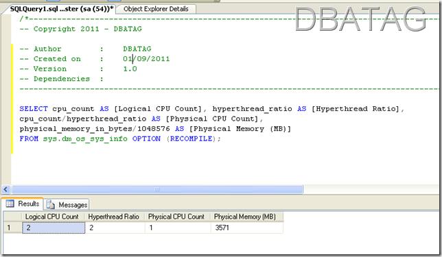 SQL Script to get Server Hardware information SQL Script to get CPU details