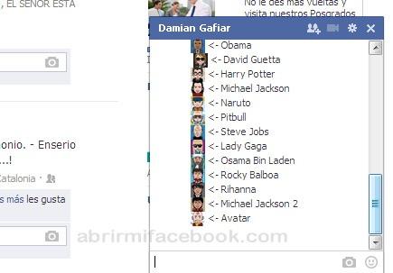 Emoticones de artistas famosos para Facebook