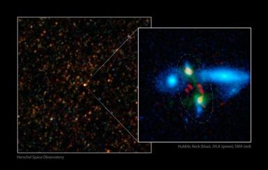 fusão de galáxias massivas