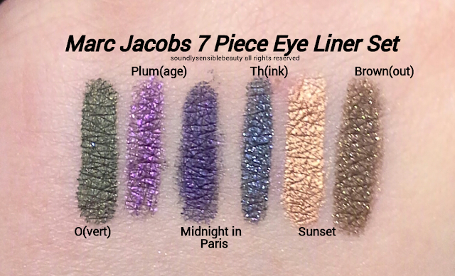 Marc Jacobs Highliner Petite 7 Piece Gel Crayon Eyeliner Set Swatches of Shades