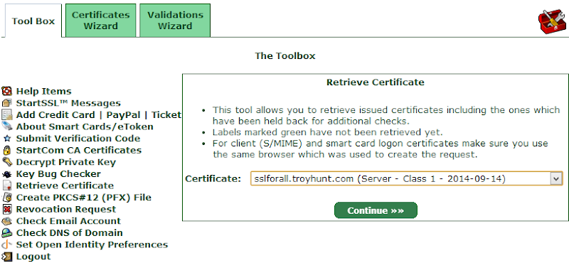 Retrieving the certificate from the tool box