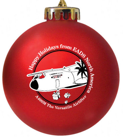 EADS North custom designed Christmas ball ornament.  Designed by  fundraisingornaments.com Notice the Pilot Santa tossing the presents out of the aircraft.