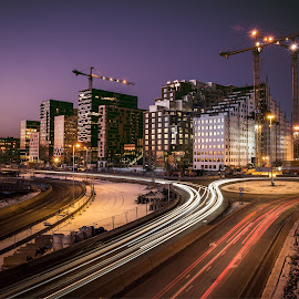 Oslo by Kim Erlandsen - City,  Street & Park  Skylines ( skyline, winter, long shutter, oslo, barcode, night )