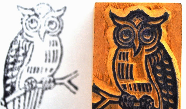 Wooden Block Owl Stamp