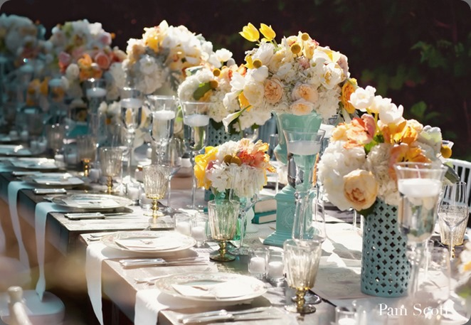 blue-white-peach-vintage-wedding-table-centerpieces aileen tran
