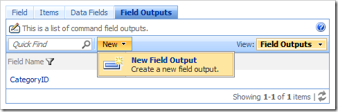 New Field Output action bar action in the Project Browser.