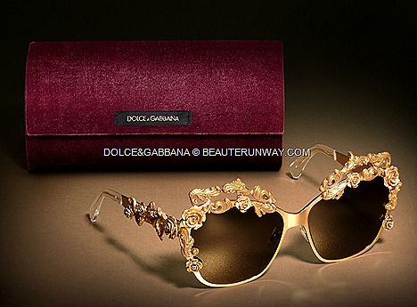 Dolce&Gabbana Fall Winter 2012 2013 Sicilian Baroque designer eyewear collection delicate twine of golden romantic roses foliage frame sunglasses lace mirror frames with gold, resin-coated Dolce&Gabbana logo, inspired 50s era