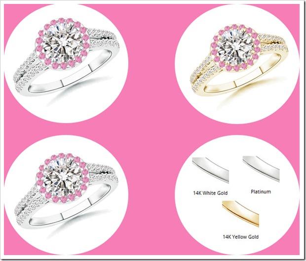 Metal Type Diamond Pink Sapphire Ring