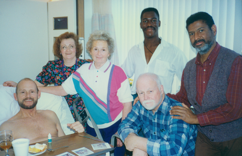 Vaughn Taylor in hospital for AIDS-related causes, visited by mother, sister, and Bob Finney. Circa December 1992.