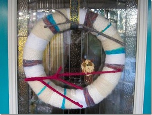Winter wreath--yarn wrapped wreath with branch and owl