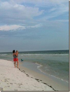 mom on beach