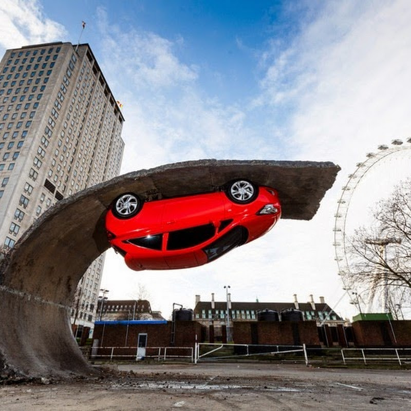 Alex Chinneck's Upside Down Car Installation in London