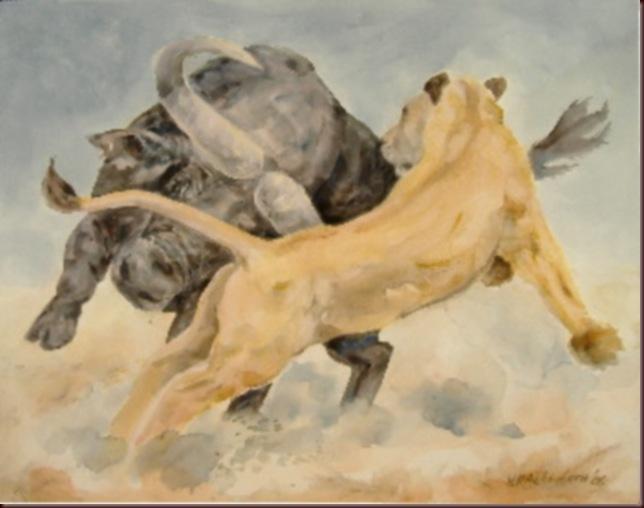 Uli_Aschenborn_Buffalo_attacking_lioness