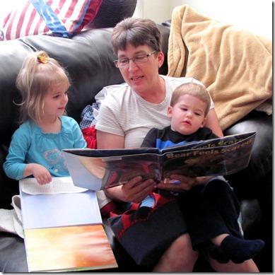Reading to Elaine and Nolan