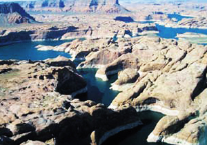Aerial view of Lake Powell in Arizona. The prominent white rings surrounding the edges of the cliffs are due to steadily receding water levels. news.columbia.edu