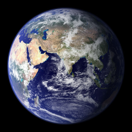 This spectacular 'blue marble' image is the most detailed true-color image of the entire Earth to date (8 February 2002). Using a collection of satellite-based observations, scientists and visualizers stitched together months of observations of the land surface, oceans, sea ice, and clouds into a seamless, true-color mosaic of every square kilometer of our planet. NASA Goddard Space Flight Center Image by Reto St&ouml;ckli (land surface, shallow water, clouds). Enhancements by Robert Simmon (ocean color, compositing, 3D globes, animation)