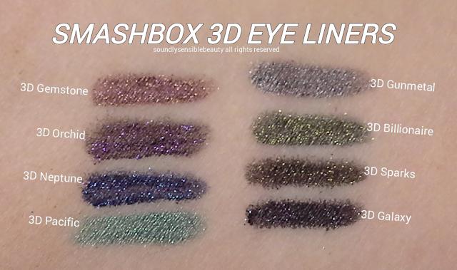 Smashbox Always Sharp 3D Eye Liners Swatches of Shades; 3D Gemstone, 3D Gunmetal, 3D Orchid. 3D Billionaire, 3D Neptune, 3D Sparks, 3D Pacific, 3D Galaxy,