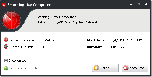 comodo internet security scanning
