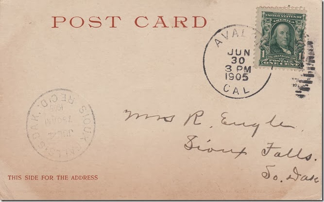 June 30, 1905 - Postcard from Charles A. Engle to Mrs. R. Engle