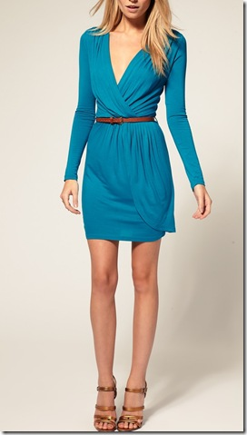 Exclusive Long Sleeve Belted Wrap Front Dress