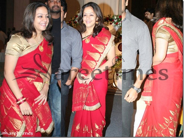Jyothika_Red_Saree