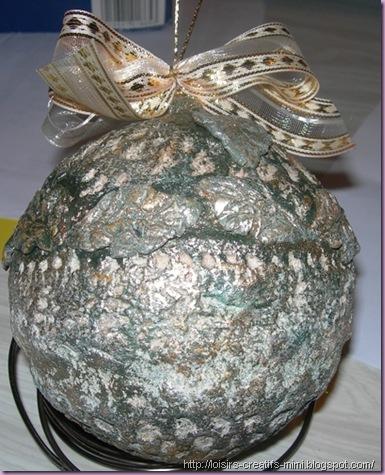 Noël, boule polystyrène, powertex, dentelle