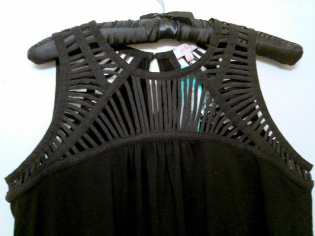 Pixley Messi Lattice Neckline Knit Top in Black