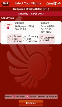 Lion Air BPN-BTH