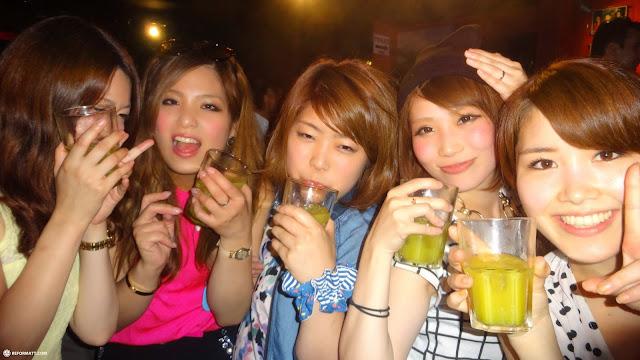 Japanese girls gone wild at nightclub in Tokyo in Tokyo, Tokyo, Japan