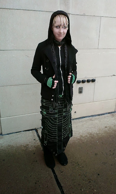 Raivyn dK - alternative fashion - outfit of the day featuring Cryoflesh maxi skirt, Royal Bones corset hoodie, Bearpaw boots