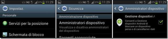 Android abilitare Gestione dispositvi