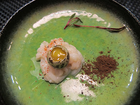 Scallop sashimi with kombu powder and quail egg at the Yuji Ramen omakase pop-up