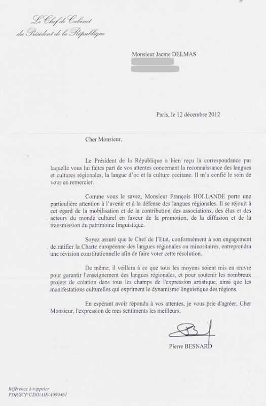 Letra del President de la Republica frnacesa amagat